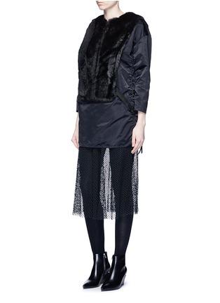 Figure View - Click To Enlarge - TOGA ARCHIVES - Mesh hem faux fur nylon dress