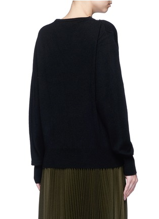 Back View - Click To Enlarge - TOGA ARCHIVES - Fishnet mesh V-neck wool sweater