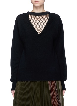 Main View - Click To Enlarge - TOGA ARCHIVES - Fishnet mesh V-neck wool sweater