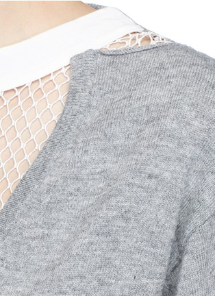 Detail View - Click To Enlarge - TOGA ARCHIVES - Fishnet mesh V-neck marled wool sweater