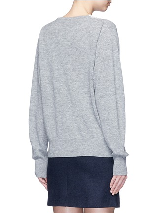 Back View - Click To Enlarge - TOGA ARCHIVES - Fishnet mesh V-neck marled wool sweater