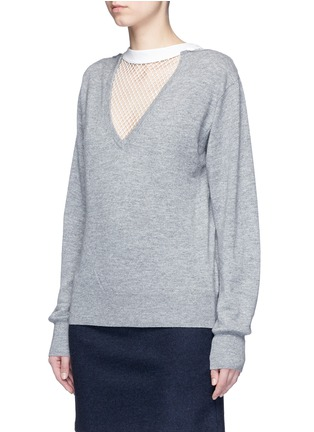 Front View - Click To Enlarge - TOGA ARCHIVES - Fishnet mesh V-neck marled wool sweater