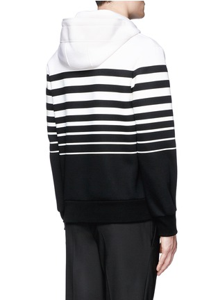Back View - Click To Enlarge - Neil Barrett - Nautical stripe print bonded jersey hoodie