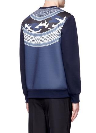 Back View - Click To Enlarge - NEIL BARRETT - Keffiyeh wave camouflage bonded jersey sweatshirt