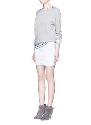 Figure View - Click To Enlarge - J BRAND - 'Leila' distressed denim pencil skirt