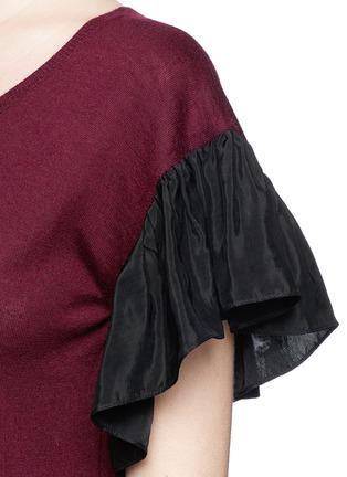 Detail View - Click To Enlarge - Uma Wang  - Ruffle taffeta sleeve cashmere top