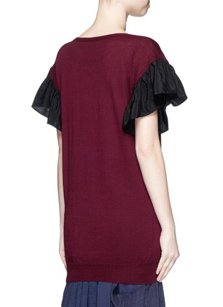 Back View - Click To Enlarge - Uma Wang  - Ruffle taffeta sleeve cashmere top