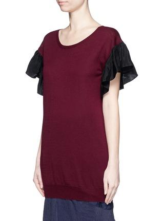 Front View - Click To Enlarge - Uma Wang  - Ruffle taffeta sleeve cashmere top