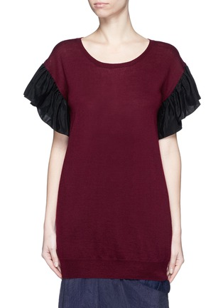 Main View - Click To Enlarge - Uma Wang  - Ruffle taffeta sleeve cashmere top