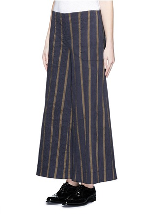 Front View - Click To Enlarge - Uma Wang  - Textured stripe stretch culottes