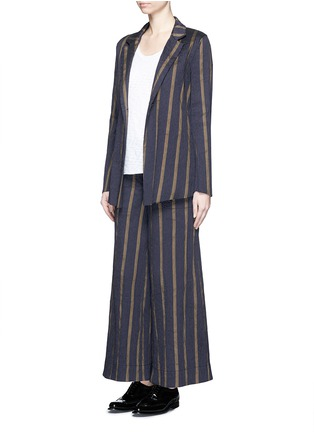 Figure View - Click To Enlarge - UMA WANG  - Textured stripe stretch culottes