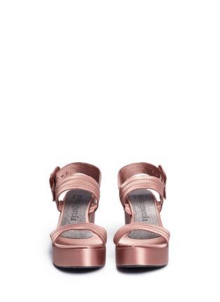 Front View - Click To Enlarge - Pedro García - 'Decima' satin platform sandals