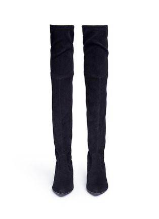 Front View - Click To Enlarge - Stuart Weitzman - 'Thigh Land' stretch suede thigh high boots