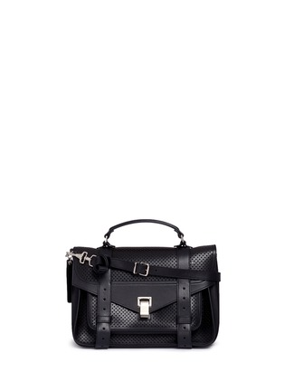 Main View - Click To Enlarge - Proenza Schouler - 'PS1' medium perforated leather satchel