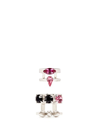 Main View - Click To Enlarge - Joomi Lim - 'Organized Chaos' spike crystal two ring set