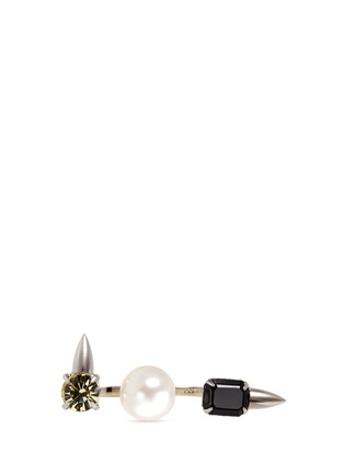 Main View - Click To Enlarge - Joomi Lim - Faux pearl crystal two finger ring