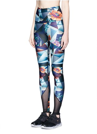 Front View - Click To Enlarge - We Are Handsome - 'The Score' print mesh trim active leggings
