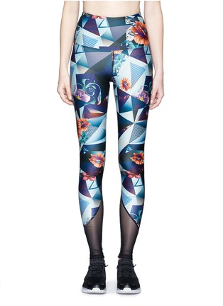 Main View - Click To Enlarge - We Are Handsome - 'The Score' print mesh trim active leggings