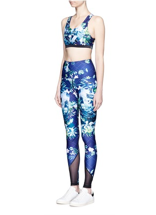 Front View - Click To Enlarge - We Are Handsome - 'The Dalliance' print mesh trim active leggings
