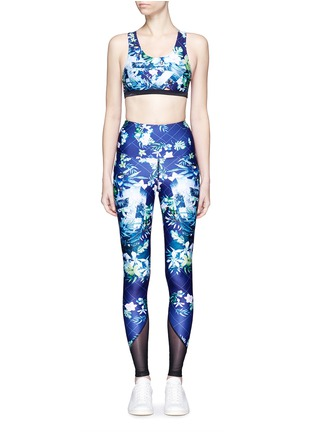 Main View - Click To Enlarge - We Are Handsome - 'The Dalliance' print mesh trim active leggings