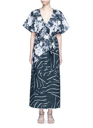 Main View - Click To Enlarge - We Are Handsome - 'The Hybrid' tie waist floral cotton maxi kaftan