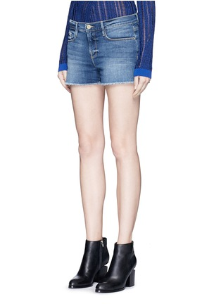 Front View - Click To Enlarge - FRAME DENIM - 'Le Cut Off' frayed denim shorts