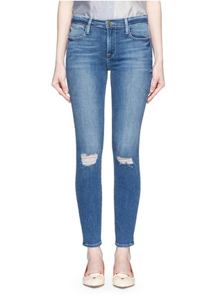 Detail View - Click To Enlarge - Frame Denim - 'Le High Skinny' ripped knee jeans
