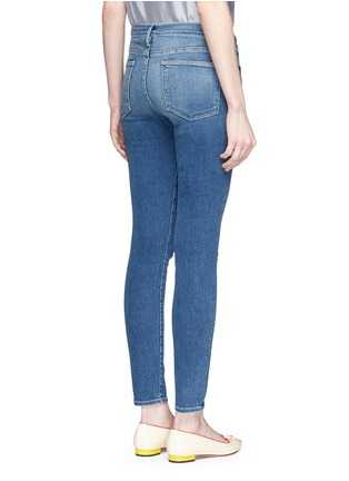 Back View - Click To Enlarge - FRAME DENIM - 'Le High Skinny' ripped knee jeans