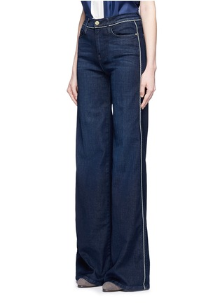 Front View - Click To Enlarge - Frame Denim - 'Le Capri' piped cotton blend wide leg jeans