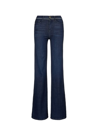 Main View - Click To Enlarge - Frame Denim - 'Le Capri' piped cotton blend wide leg jeans