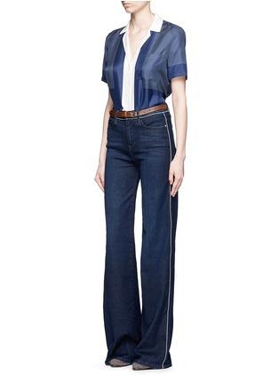 Figure View - Click To Enlarge - Frame Denim - 'Le Capri' piped cotton blend wide leg jeans