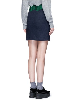 Back View - Click To Enlarge - TOGA ARCHIVES - Embroidered wavy trim wool mini skirt