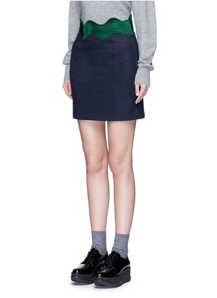 Front View - Click To Enlarge - TOGA ARCHIVES - Embroidered wavy trim wool mini skirt
