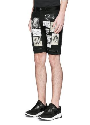 Front View - Click To Enlarge - Haculla - Art patchwork appliqué denim shorts