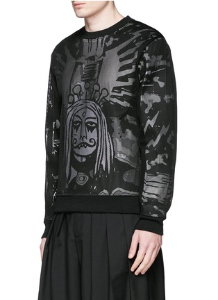 Front View - Click To Enlarge - Haculla - 'Electric City' print mesh overlay top