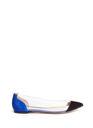 Main View - Click To Enlarge - Gianvito Rossi - 'Plexi' clear PVC colourblock suede flats