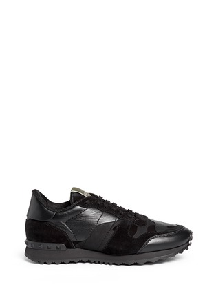 Main View - Click To Enlarge - Valentino - Camouflage print suede leather sneakers