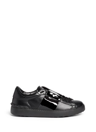 Main View - Click To Enlarge - Valentino - 'Rockstud' patent band leather sneakers