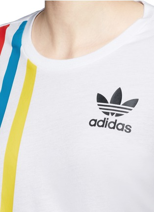 Detail View - Click To Enlarge - ADIDAS - Mesh panel stripe print cotton-modal cropped T-shirt