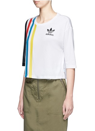 Front View - Click To Enlarge - Adidas - Mesh panel stripe print cotton-modal cropped T-shirt