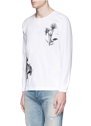 Front View - Click To Enlarge - Saam1 - 'Violet' tiger embroidery Henley shirt
