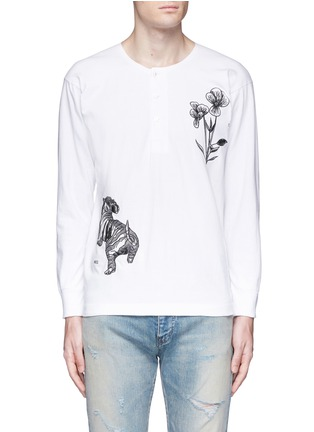 Main View - Click To Enlarge - SAAM1 - 'Violet' tiger embroidery Henley shirt