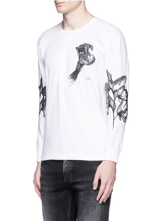 Front View - Click To Enlarge - Saam1 - 'Sweet Pea' dragon embroidery Henley shirt