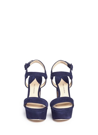 Front View - Click To Enlarge - Paul Andrew - 'Stanton' suede platform sandals