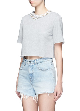 Front View - Click To Enlarge - Forte Couture - Faux pearl chain neck cropped French terry sweatshirt