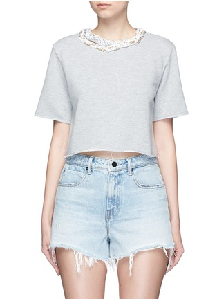 Main View - Click To Enlarge - Forte Couture - Faux pearl chain neck cropped French terry sweatshirt