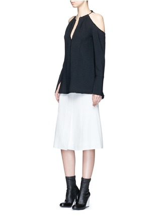 Figure View - Click To Enlarge - PROENZA SCHOULER - Belted double weave crepe skirt