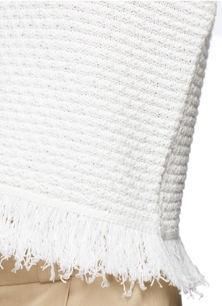 Detail View - Click To Enlarge - Proenza Schouler - Fringed woven jacquard wool-cotton top