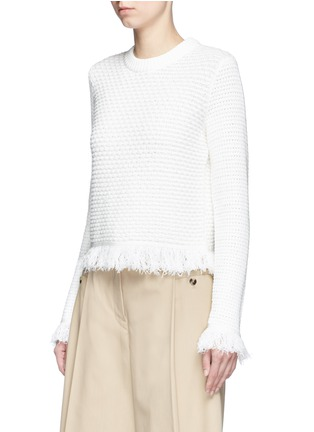 Front View - Click To Enlarge - Proenza Schouler - Fringed woven jacquard wool-cotton top