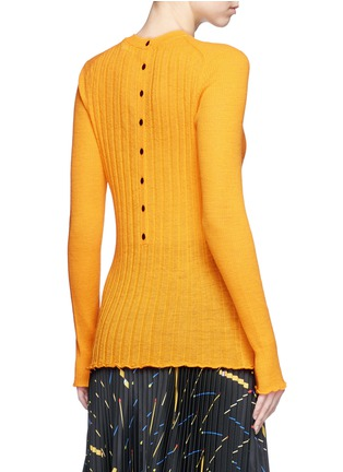 Back View - Click To Enlarge - Proenza Schouler - 'Ultrafine' button back rib knit wool sweater